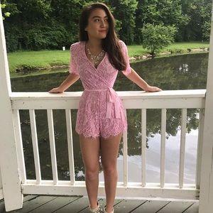 Francesca's Pink Floral Lace Romper